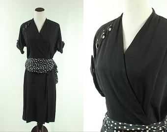 40s/50s Black Polka-dot Sash Dress