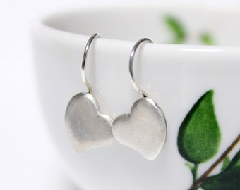 Sterling Silver Lovely Heart Earrings, Dangle & Drop Earrings, Silver Hook Earrings, Simple Hook Earrings, Handmade Silver Earrings.