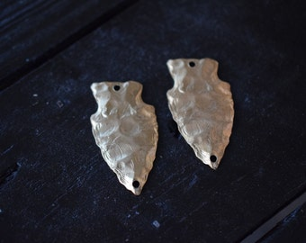 Large Brass Arrowhead Pendants, Made in the USA, 2pcs