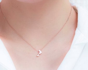 Dainty Heart Necklace, Tiny Heart Necklace, Rose Gold Heart Necklace, Minimalist Necklace, Love Necklace, Two Hearts Necklace
