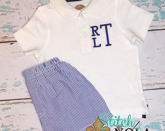 Monogrammed Collared Shirt and Shorts Set