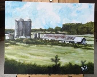 Silos 1- 16 x 20 acrylic on canvas rural scene