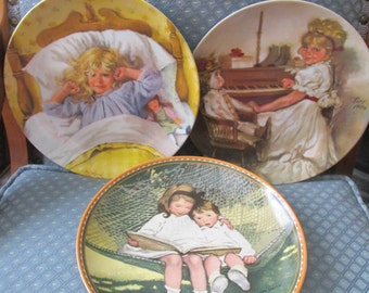 Three Childhood Memory Plates Modern Masters and Knowles 1980's