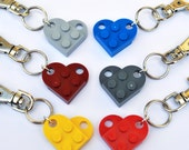 LEGO  Love Heart Keyring  7 Funky Colours