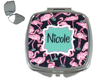 Personalized Compact Mirror Custom Compact Mirror Monogrammed Cosmetic Mirror for Purse Great Personalized Bridesmaids Gifts