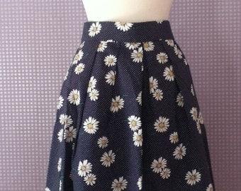 Vintage daisy print a-line skirt