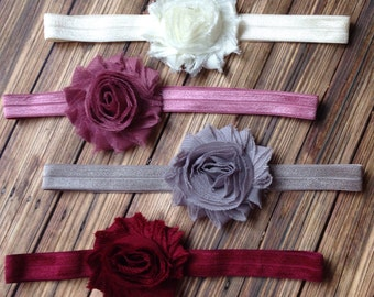 Shabby Chic Vintage-style Headbands, YOUR COLOR CHOICE, Rose, Gray, Ivory or Maroon, Baby, Toddler, Girls Headband