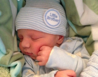 A Best Seller! Baby Hospital Hat.  Baby Boy. Baby Hat. Newborn Hospital Hat.  Newborn Beanies. Little Brother.