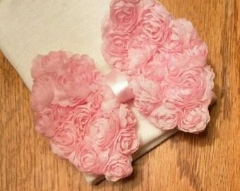 Newborn Hospital Hat. White with Pink Chiffon Bow. Baby Beanie. 1st Keepsake! Newborn Beanies. Great Gift and Going Home Hat!
