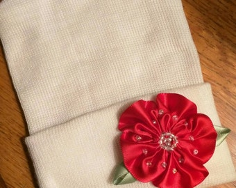 Newborn Hospital White Beanie w/ Handmade Red Satin Flower. Hospital Beanie. Simple and Sweet. Great Gift. Perfect Going Home Hat!