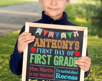First Day Of School Sign, First Day Of Kindergarten Sign, First Day Of Preschool Sign, Back To School Sign, Printable Sign 8x10 or 11x14