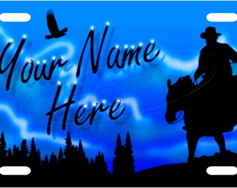 Personalized Western Skies License Plate Tag