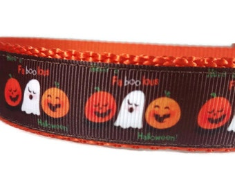 "FaBoolous Halloween Dog Collar *Ghosts *Pumpkin * 1"" Width Only * Buckle Collar * Martingale Collar * Chain Martingale"