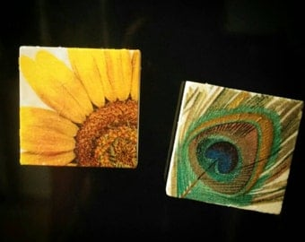 Upcycled 2x2 tile magnets. Set of 4.