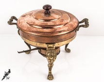 Copper Chafing Dish, Burner and Stand / Pan with Brass (?) Handles and Three Claw Foot Legs, Lid and Divided Metal Insert Vintage 5-Piece