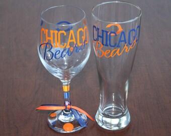 Chicago Bears Beer/Wine Glass set