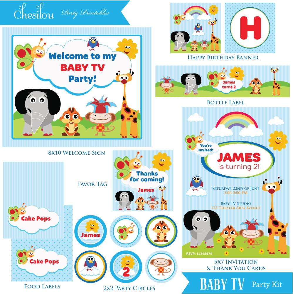 Customized Baby TV Birthday Invitation And Party Kit