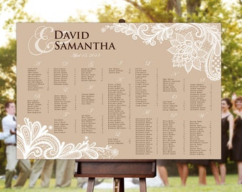 Wedding Seating Chart - RUSH SERVICE - Natural Brown Rustic Lace Wedding Seating Chart Reception Poster - Digital Printable File -HBC1v2