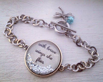 "Quote bracelet, inspirational bracelet, ""With brave wings she flies"" sparkle bracelet"