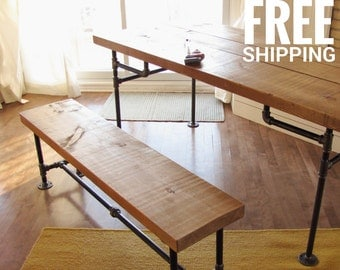 Industrial Pipe Table | Wood dining table, Pine table, Kitchen table | Industrial Decor | Free shipping