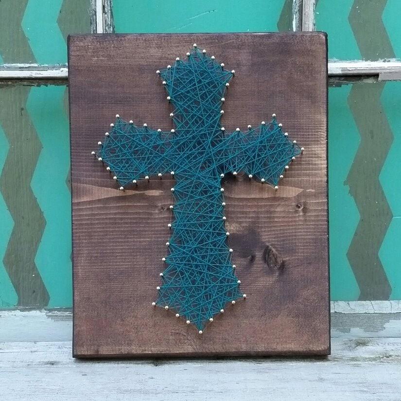 string art cross cross nail art custom string art jade blue. Black Bedroom Furniture Sets. Home Design Ideas