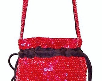 Sequin Beaded Drawstring Evening Bag Purse RED