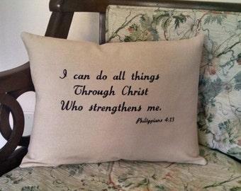 Bible Verse Inspirational Pillow Embroidered