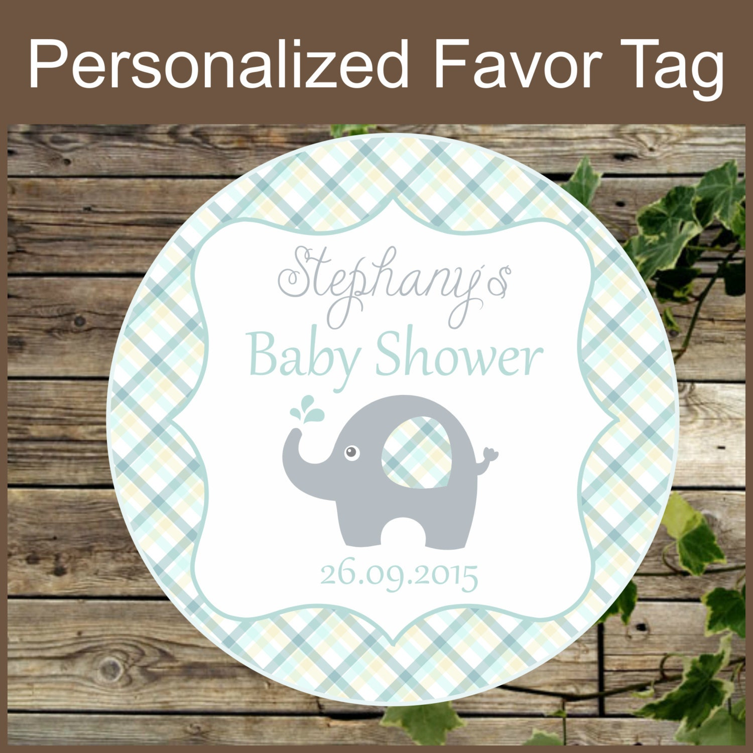 baby shower elephant favor tags teal baby shower by isidesigns