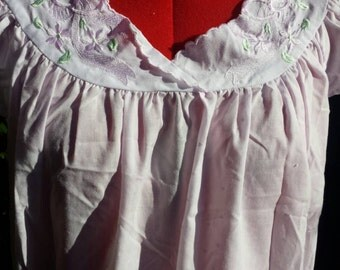 Nightie Babydoll pink cotton nightie delicate with embroidered flowers design approximately size 12 to 14