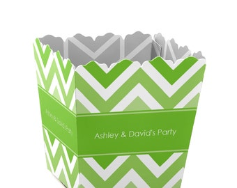 Chevron Green Custom Small Candy Boxes - Personalized for Baby Showers, Birthday Parties, and Bridal Shower Party Supplies - Set of 12