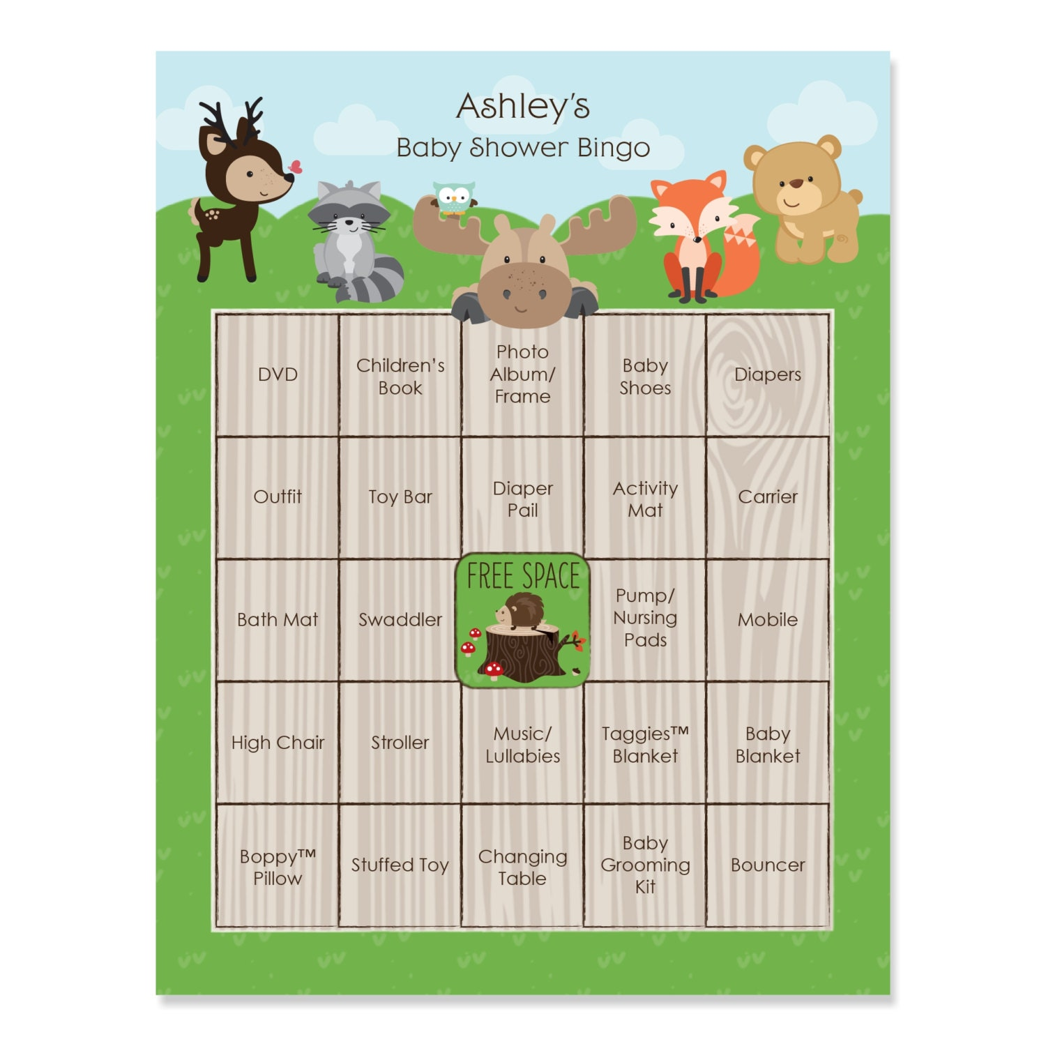 16 Baby Shower Bingo Cards Woodland Creatures Theme Gift