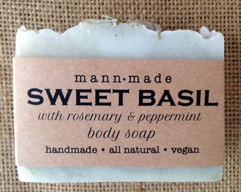 Sweet Basil Soap with Rosemary and Peppermint, All Natural, Vegan - made with 100% Essential Oils & Green Zeolite Clay