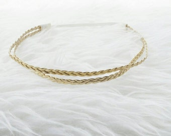 Double strand gold braided baby girl and women hippie halo headband