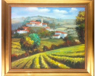 Framed 24x20 Oil Painting of Tuscan Vineyards