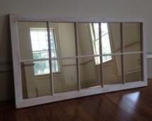 Distressed Framed Mirror, Window Mirror, window pane,, Window Sash Mirror, shabby Chic Mirror, Rustic Wood Mirror