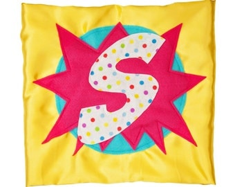 CUSTOMIZED HERO CAPE - Polka Dot Superhero - Yellow Pink Cape - Capes for Super Heroes - Initial Cape - Letter Cape - Ships in 2-3 Days