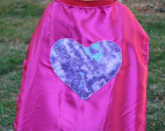Heart Capes - Superhero Cape with Heart - Tie Dye Heart Cape - Heart Superhero Cape - Choose Cape Color - Girls Heart Capes - Ships Quickly