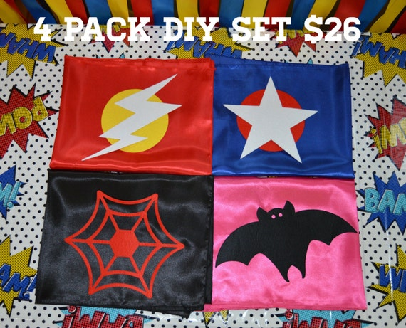 4 Pack DIY Cape Set - Self Adhesive Felt Shapes - Cape Decorating Kit - Party Capes - Superhero Party Activity  - Quick Shipping