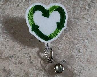 Heart for Recycling, Earth Badge Reel, Recycling Badge Reel, Environmentalists, Retractable Badge Reel, Badge ID Reel- BottleCapsGaloreNMor