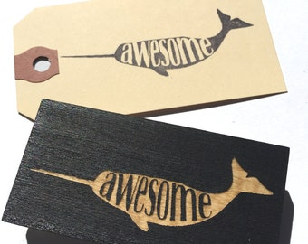 awesome narwhal stamp