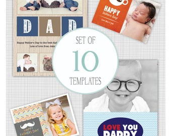 10 PSD Father's Day photo card templates. Mini Pack 22.