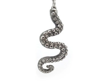 Curly Octopus Tentacle Necklace, Squid Arm Pendant Jewelry in Pewter