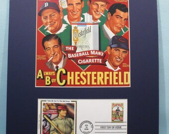 Chesterfield Cigarettes Ad featuring Stan Musial, Joe DiMaggio and Ted Williams & Baseball First Day Cover