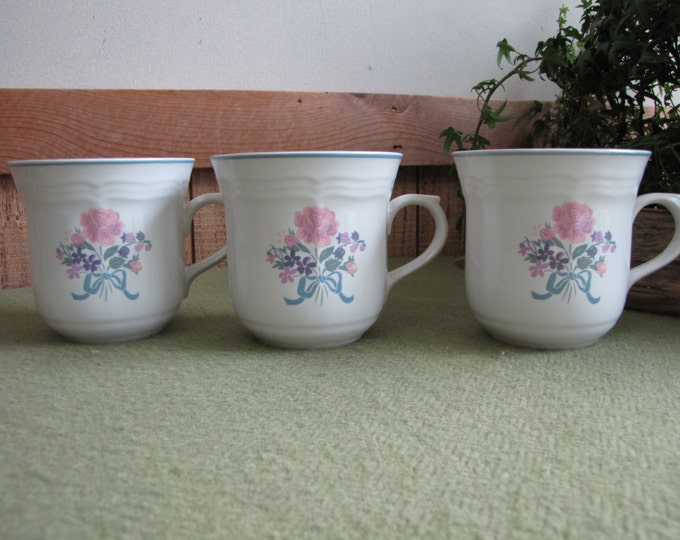 Three Stoneware Mugs Coffee Cups NewCor Stoneware #6026 Victoria Pattern