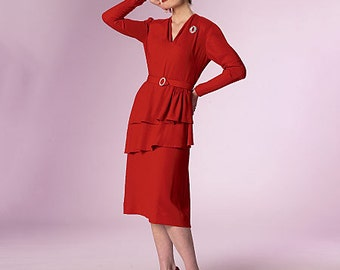 Butterick Sewing Pattern B6266 Misses' Tiered Peplum Dresses