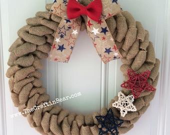 Patriotic burlap wreath - American wreath - Stars and Stripes - 4th of July wreath - Star wreath - 4th of July decor - Americana