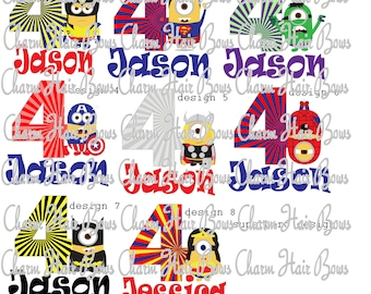 super hero minion digital iron on/ birthday shirt/ family shirts