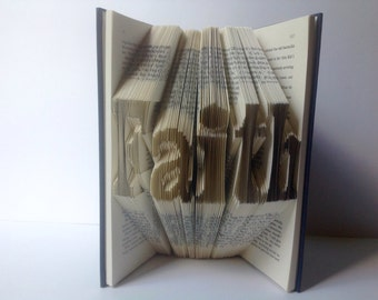 Faith Folded Book Pages Art