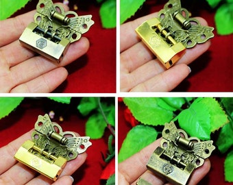 Alloy antique Chinese Key Padlock +Butterfly Latch 45mm - Bronze Latch Hasp Chest Small Lock Eight Style - v69