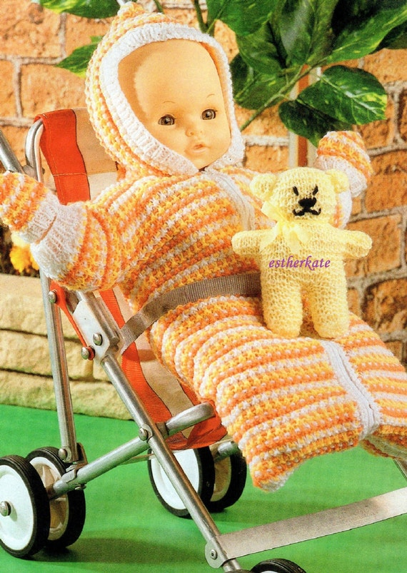 Knitting Pattern For Dolls Sleeping Bag : VINTAGE knitting pattern pdf dolls clothes sleeping bag and